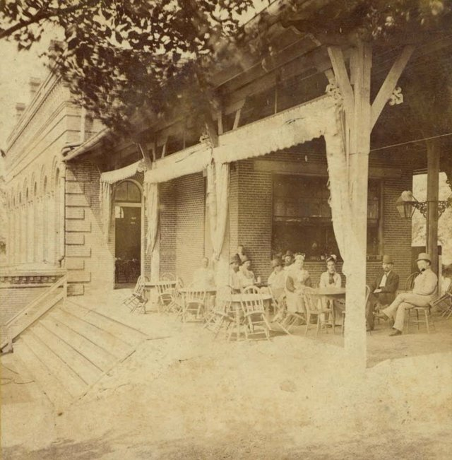 Mixed Group Seated Under a Pavilion at Schnaider's Beer Garden, c. 1880s, Missouri History Museum, N30024.jpg