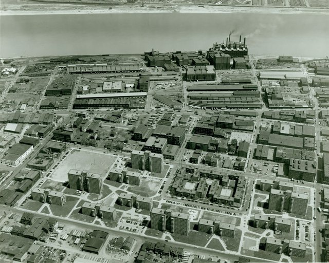 Aerial View of Cochran Gardens and Neighborhood Gardens Housing Projects, Photograph by Ted McCrea, 1953,  Missouri History Museum, N35031.jpg