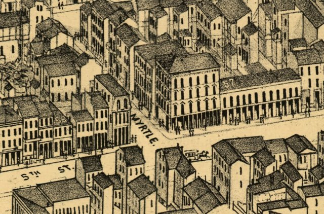 Intersection of 5th and Myrtle Streets, Modern Broadway and Clark, Detail of Compton and Dry's Pictorial St. Louis, 1876, Library of Congress.jpg