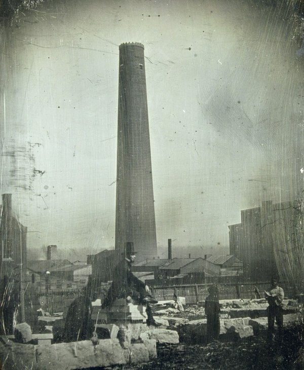 Thomas M. Easterly, LUTHER M. KENNETT'S SHOT TOWER, MAN IN TOP HAT, LEWIS STREET BETWEEN BATES AND SMITH STREETS, 1850, Missouri History Museum, N17003.jpg