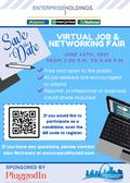 Blue with Desk Graphics Job Fair Flyer