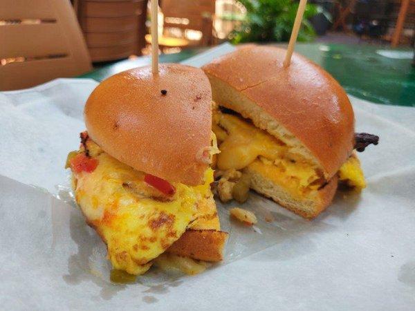Breakfast sandwiches (giardiniera on left, hanger steak on right).jpg